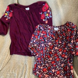 Two girl flower shirts